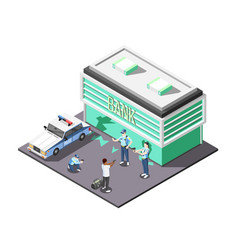 gangs and police isometric composition vector image