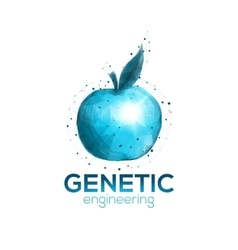 Genetic engineering logo template with blue apple vector image