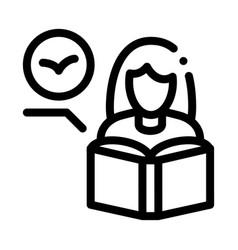 Girl reading book about bird icon thin line vector