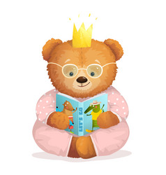 Girl teddy bear princess reading book in pajamas vector