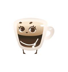Glass cup coffee with lush foam cartoon vector