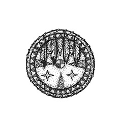 hand drawn indian shield vintage vector image