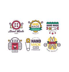 hand made needlework badge and logo set vector image