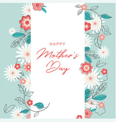 happy mother day holiday pink flower on blue vector image