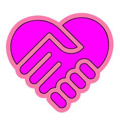 heart handshake icon eps10 vector image