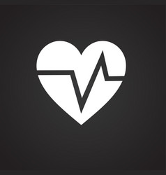 Heart rate pulse on black background vector