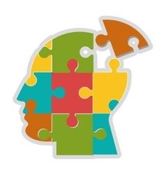 Human head in puzzle pieces icon vector