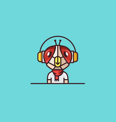 Insect mascot fly headphones character vector