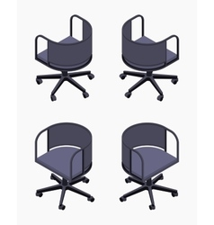 Isometric office spinning black chairs vector image