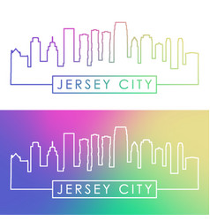 Jersey city skyline colorful linear style vector