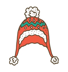 Knitted winter cap vector