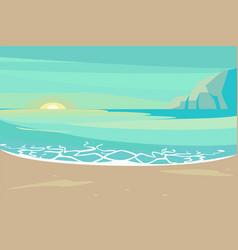 Landscape with sand tropical beach vector
