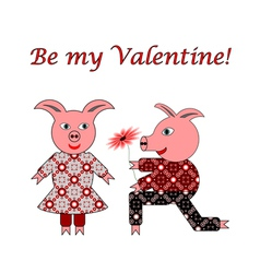 Love between two funny pigs vector