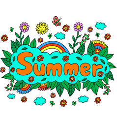 mandala and summer word doodle lettering colorful vector image