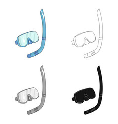 Mask and tube for diving icon in cartoon style vector