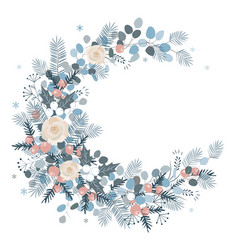 merry christmas wreath design new year decoration vector image