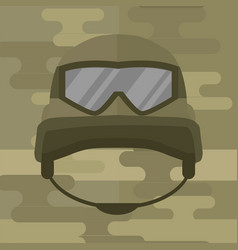 Military modern camouflage helmet army symbol of vector