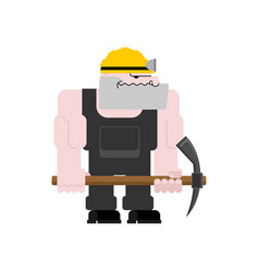 miner worker mining isolated collier with pickaxe vector image
