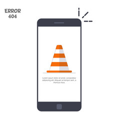 Mobile phone with a picture of a construction cone vector