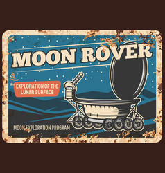 moon rover on lunar surface rusty plate vector image