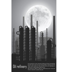 Oil and gas refinery at night vector image