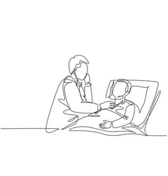 One single line drawing young male doctor vector