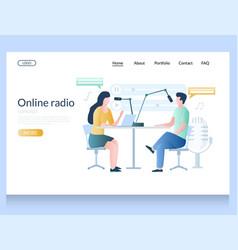Online radio website landing page design vector