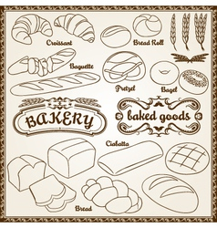 Outline bakery set vector