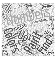 Paint by numbers word cloud concept vector