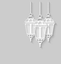 paper lanterns on gray background vector image