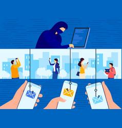 Phishing attack cartoon flat vector
