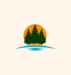 pine tree forest landscaping creative logo vector image