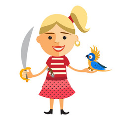 Pirate girl with parrot vector