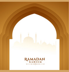 Ramadan kareem wishes greeting with mosque door vector