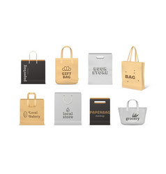 realistic shopping bag paper and fabric bag vector image