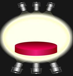 red pedestal illuminated by floodlights vector image
