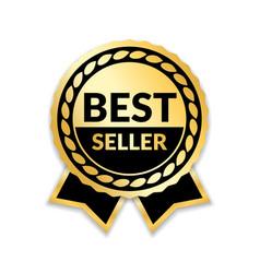 ribbon award best seller gold ribbon award icon vector image