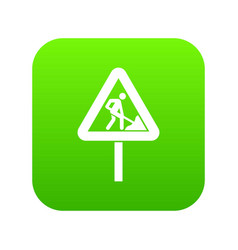 road works sign icon digital green vector image