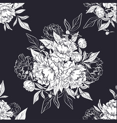 seamless black and white pattern with peonies vector image