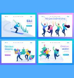 Set 2d flat concepts young people have a rest vector