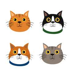 set of cute cats flat icons vector image