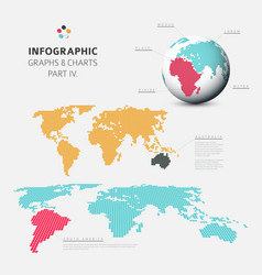 set of flat design infographic charts and graphs 4 vector image