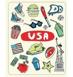 Set tourist attractions vector