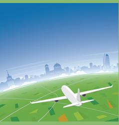 Sofia skyline flight destination vector