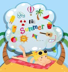 Summer theme with girl on the beach vector