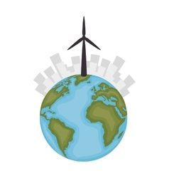 Sustainable city with wind energy vector
