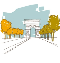 Triumphal arch hand drawn paris vector