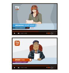 Tv news anchors broadcasting television financial vector