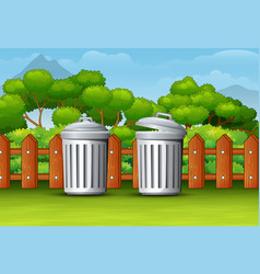 two trash can in a clean park vector image