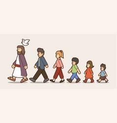 walk with jesus follow jesus cartoon vector image
